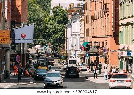 Oslo, Norway - June 24, 2019: Traffic On Kristian Ivs Gate Street In Oslo.
