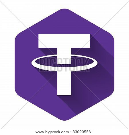 White Cryptocurrency Coin Tether Usdt Icon With Long Shadow. Physical Bit Coin. Digital Currency. Al