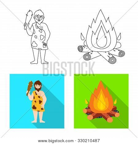 Isolated Object Of Evolution And Neolithic Sign. Set Of Evolution And Primeval Stock Vector Illustra