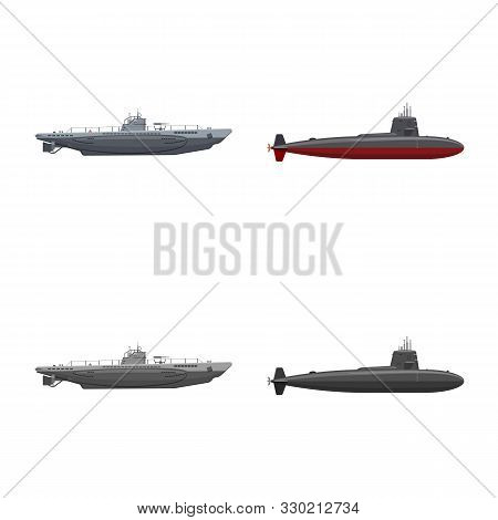 Vector Design Of War And Ship Sign. Set Of War And Fleet Vector Icon For Stock.