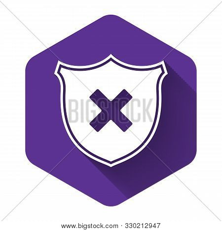 White Shield And Cross X Mark Icon Isolated With Long Shadow. Denied Disapproved Sign. Protection, S