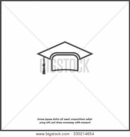 Graduation Cap Vector Icon. Hight School Symbol On White Isolated Background.