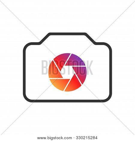 Colorful Camera Icon. Camera Icon For Web Design. Vector Illustration