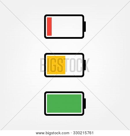 Battery Icon: Charged And Discharged. Charged Battery. Discharged Battery