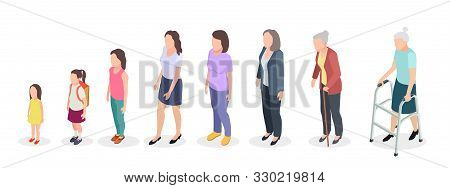 Woman Generations. Isometric Adult, Vector Female Characters Kids Girl Old Woman Human Age Evolution