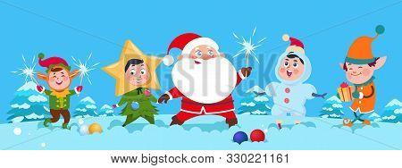 Winter Background. Christmas Santa Vector Illustration. Happy Cartoon Kids And Santa Claus With Spar