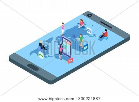 Social Media Concept. Isometric People With Phones, Laptop On World Map. Worldwide Communication Vec