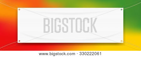Vinyl Banner Blank White Isolated On Colorful Art Background, White Mock Up Textile Fabric Empty For