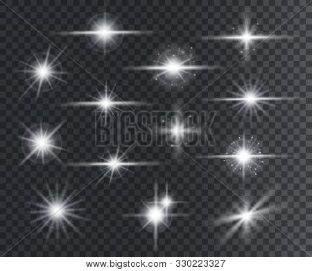 Light Effect. Lens Flares, Glow Light Starburst Effects With Sparkles And Rays. Christmas Design Rad