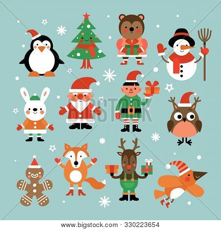 Christmas Characters. Santa Claus, Fir-tree And Penguin, Snowman And Elf, Hare And Owl, Deer And Gin