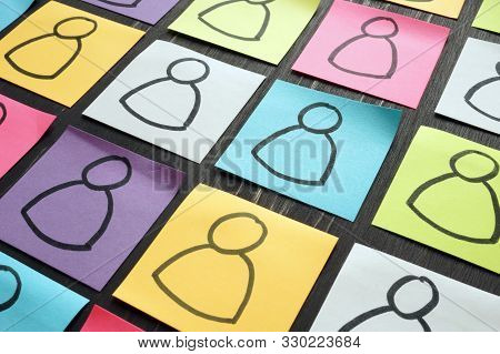 Diversity And Inclusion Concept. Silhouettes Of People On Colorful Sheets.