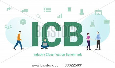 Icb Industry Classification Benchmark Concept With Big Word Or Text And Team People With Modern Flat