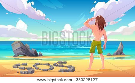Castaway man on uninhabited island, lonely stranded longhaired character stand on seaside looking into distance on ocean with sos sign made of stones lying on sandy beach. Cartoon vector illustration poster