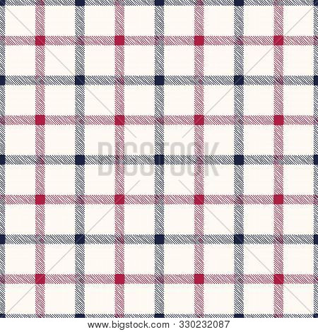 Classic Hand-drawn Blue And Red Glun Club Plaid Checks On White Background Vector Seamless Pattern.