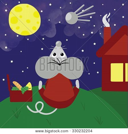 Symbol Of The New Year 2020, Rat Or Mouse, Has Picnic Outdoors At Night And Staring On Sky With Moon