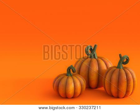 3d Rendering Of A Halloween Fall Pumpkin Greeting Card With Three Pumpkins In The Bottom Right Corne