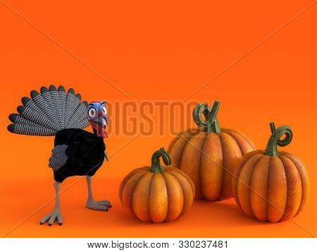 3d Rendering Of A Silly Cartoon Turkey With Three Pumpkins On A Fall Pumpkin Greeting Card.