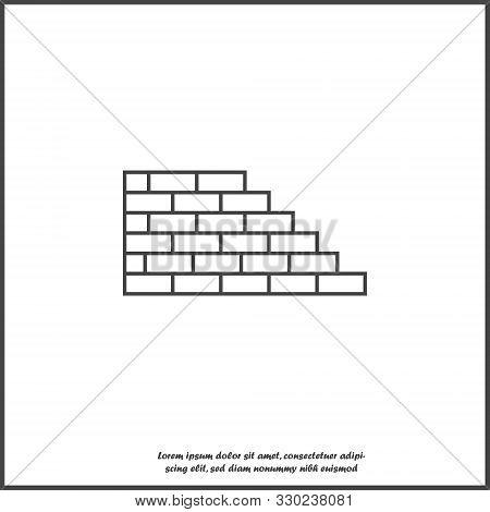 Vector Brick Icon. Illustration Of Brickwork. Brick Wall Icon On White Isolated Background.