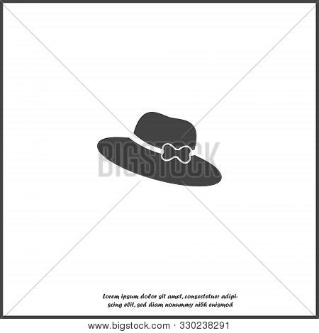 Vector Icon Hat With Brim On White Isolated Background. Layers Grouped For Easy Editing Illustration