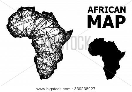 Web Vector Map Of Africa. Wire Frame 2d Network In Eps Vector Format, Geographic Model For Education