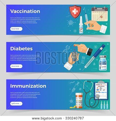Vaccination, Diabetes, Immunization Horizontal Banners With Flat Icons Syringe, Blood Glucose Meter,