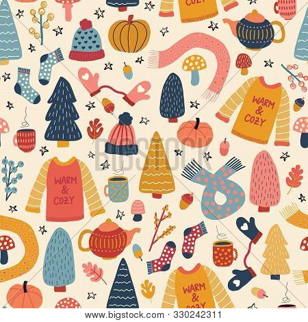 Seamless Pattern Of Autumn Winter Hygge Elements. Cute Vector Background Teapot, Wool Sweater, Hat,