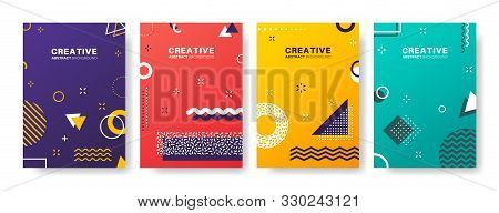 Abstract Geometric Patterns. Gradients Covers Design. Set Of Business Brochure, Applicable For Placa