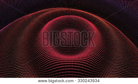 Circle Ripple Radial Pulse Effect. Particle 3d Wavy Drip Drop To Surface. Background Grid Structure.