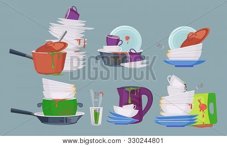 Dirty Dish. Restaurant Kitchen Empty Items For Washing And Cleaning Dirty Plates Mugs Vector Collect