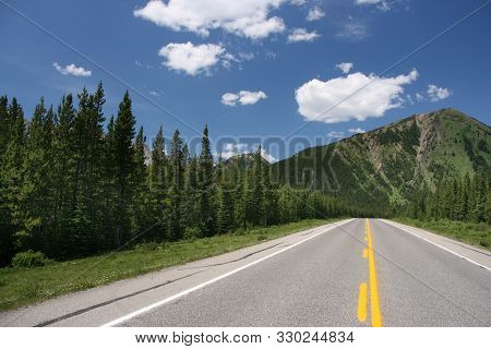 Highwood Trail Road In Canada. Kananaskis Country, Alberta Province, Canada.