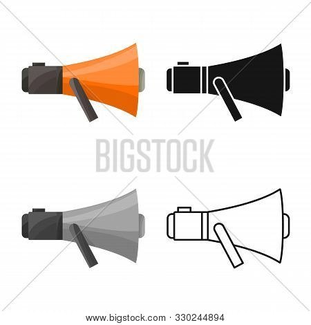 Isolated Object Of Megaphone And Warning Symbol. Graphic Of Megaphone And Scream Vector Icon For Sto