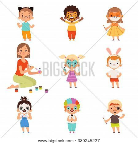 Kids Face Painting. Animator Drawing And Playing With Childrens Party Costumes Makeup Vector Cartoon