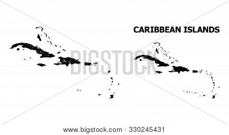 Net Vector Map Of Caribbean Islands. Linear Frame 2d Network In Eps Vector Format, Geographic Templa