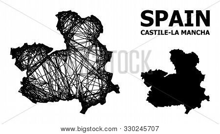 Web Vector Map Of Castile-la Mancha Province. Wire Carcass Flat Mesh In Vector Format, Geographic Te