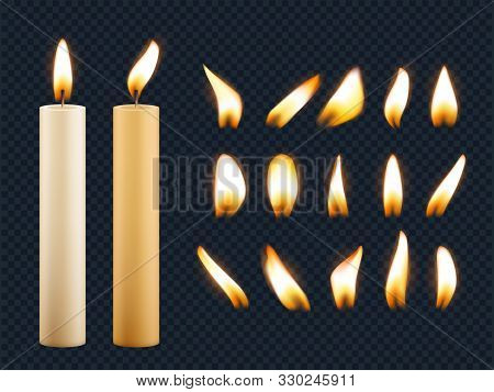 Wax Candles. Romantic Lights From Candle Flame Different Shapes Of Fuse Vector Realistic Collection.