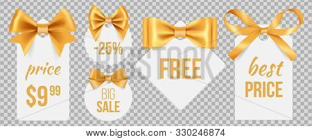 Sale Tags. Gold Silk Bows And Promo Badges. Vector Holidays Sale Labels With Decorative Satin Ribbon