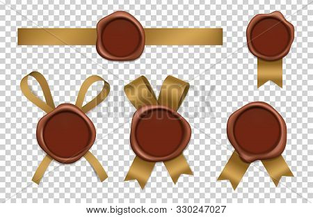 Wax Stamp And Gold Ribbons. Sealed Brown Rubber Postal Stamps With Tapes Vector Realistic 3d Picture