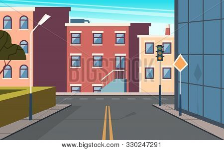 City Street Cartoon. Urban Structure Buildings Crossroad Vector Panoramic Outdoor Picture. Cartoon E