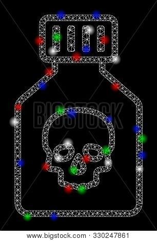 Bright Mesh Poison Phial With Glow Effect. White Wire Carcass Triangular Mesh In Vector Format On A