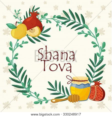Main Symbols Of Shana Tova Jewish Holiday Concept Vector Illustration