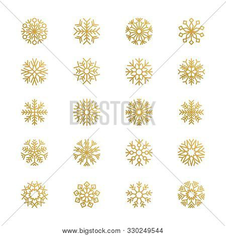 Abstract Snowflakes. Season Graphic Symbols Snow Vector Logo Elements. Snowflake Winter, Golden Snow