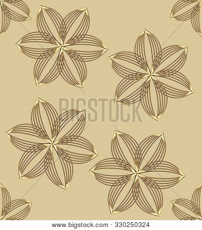 Gold Style Design With Flower Motif, Embossed Gold Patterns On Light Gold Background, Seamless Patte