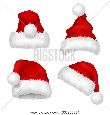 Santa Hat. Red Velvet Christmas Santa Traditional Hat With Fur Vector Collection Isolated. Illustrat