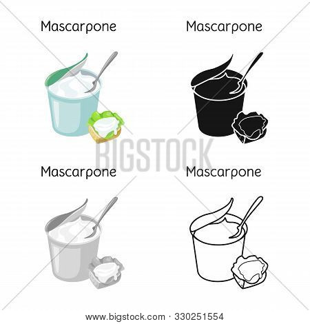 Isolated Object Of Mascarpone And Cheese Sign. Graphic Of Mascarpone And Soft Vector Icon For Stock.
