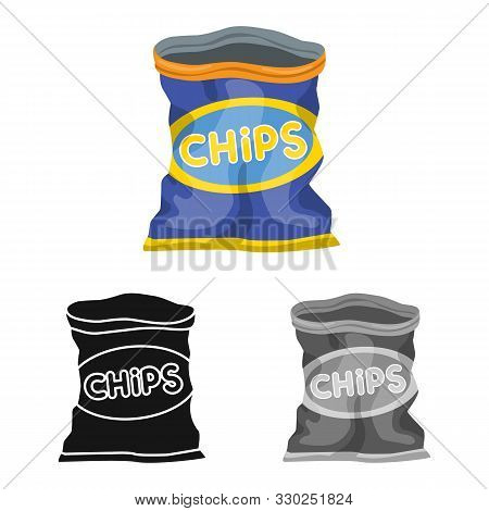 Vector Illustration Of Package And Chip Icon. Graphic Of Package And Crunchy Vector Icon For Stock.