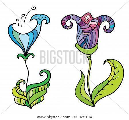 Color fantastic flowers