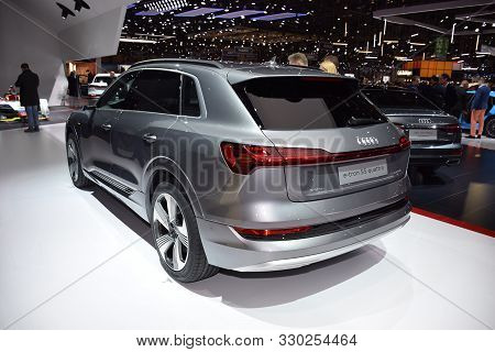 Geneva, Switzerland - March 04, 2019: Audi E-tron 55 Quattro - Geneva International Motor Show 2019