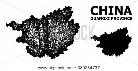 Web Vector Map Of Guangxi Province. Linear Carcass 2d Mesh In Eps Vector Format, Geographic Template