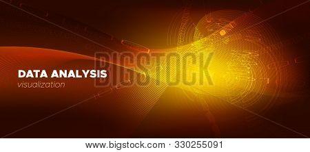 Matrix Background. Gold Science Tech Network. Brown Glow Technology Concept. Digital Binary Waves. M