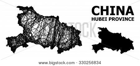Net Vector Map Of Hubei Province. Linear Frame 2d Mesh In Vector Format, Geographic Model For Educat